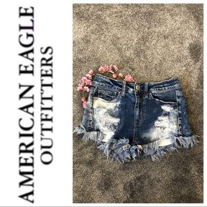 AEO acid wash high rise jean shorties